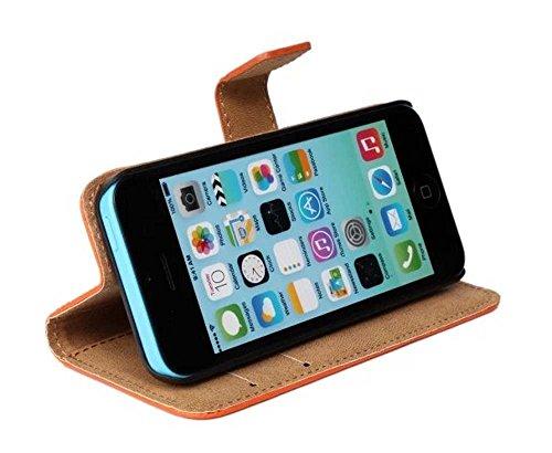 AMEEGO iPhone SE / 5S / 5 Echtes echtes Leder Brieftasche Flip Case mit Tan Innen, Ständer, Kartenfächer und Magnetverschluss Schlankes Design Notebook Flip Cover ORANGE