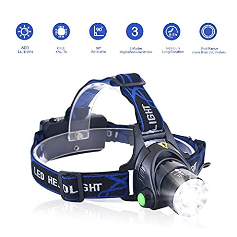 USB Rechargeable LED Headlamp Headlight, Waterproof Cree LED Flashlight Head Torch Zoomable Adjustable with 3 Modes for Reading Running Camping Hiking Fishing Hunting Climbing Walking Jogging Indoor Outdoor