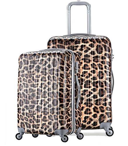 Xiuxiandianju 20 pollici 24 pollici ruota universale leva viaggio impermeabile ABS valigia bagaglio di viaggio (reticolo) , leopard , 20 inch