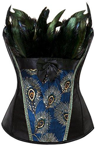 EUDOLAH Damen Vintage Gothic Corsage Burlesque Vollbrust Korsett Korsagenkleid mit Rock Petticoat Halloween Kostüme Pfau Pattern mit Federn Übergrößen A-Schwarz - Schwarz Burlesque Kostüm