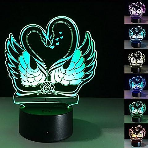 3D schwan Glühen LED Lampe 7 Farben erstaunliche optische Täuschung Art Skulptur Ferneinstellung Lichter produziert einzigartige Lichteffekte und 3D-Visualisierung für Home Decor-kreative Geschenk