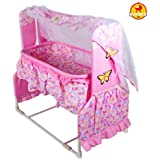 GoodLuck Baybee - New Born Baby Cradle For Kids | Baby Bed & Crib Cradle With Mosquito Net - Canopy For Babies Up To 18 Months| Infants | Childrens - (Pink)