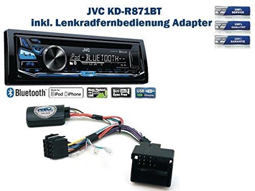 JVC KD-R871BT incl. Lenkrad Fernbedienung Adapter Peugeot verschiedene Modelle Bj. ab 2005