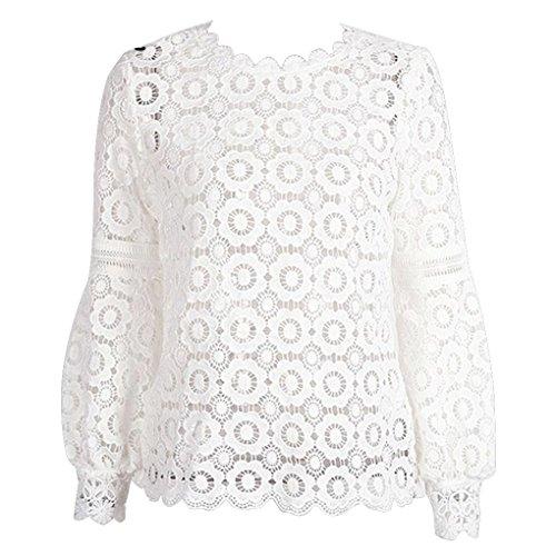 Women Lantern Sleeve Floral Lace Blouse Shirt Back Zipper Blouse Hollow Out Short Top -