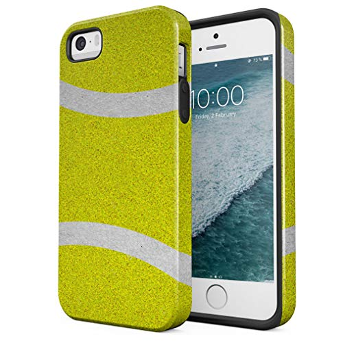 Maceste Tennis Ball Pattern Compatible with iPhone 5 / 5s / SE Silicone Inner & Outer Hard PC Shell 2 Piece Hybrid Armor Case Cover -