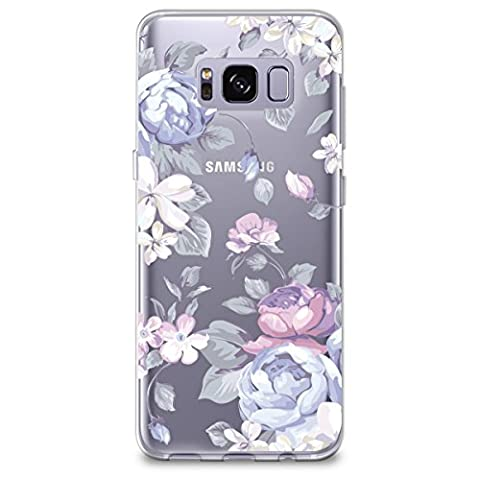 Samsung S8 Case, [Full Coverage Screen Protector Included-NOT Glass] CasesByLorraine Purple Floral Flower Clear Transparent Case Flexible TPU Soft Gel Protective Cover for Samsung Galaxy S8