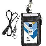 Porte-badge Wisdompro® vertical en similicuir avec 1fenêtre pour carte d'identité, 4fentes pour cartes, 1poche zippée sur le côté, 1lanière tour de cou de 50cm noir