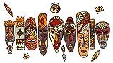 Wandtattoo Afrika Masken in bunten Farben Wandsticker Deko Figuren