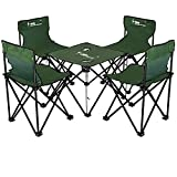 KOKR Tisch- und Stuhlset - Picknick Strand Tisch und Stuhl Tragbar, Klapptisch (46X46x38cm) + 4 X Campingstühle, Gartenmöbel Campinggarnitur Tisch- und Stuhlset