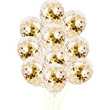 Party Propz Golden Confetti Balloons for Decoration - 12Pcs For Black and Golden Decorating Balloon Garland, Helium Balloons