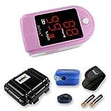 Pulsossimetro Pulox-PO-100 con display a LED saturimetro in colore rosa