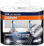 OSRAM NIGHT BREAKER UNLIMITED H4, halogen-headlamp bulb, 64193NBU-HCB, 12V, duo box (Pack of 2)