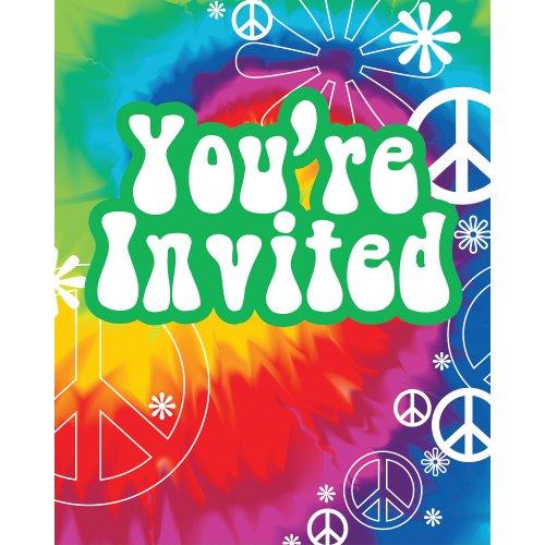 onverting Tie Dye Fun 8Zählen Party Einladungen ()