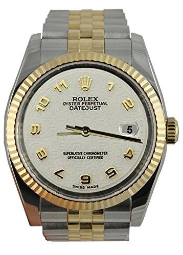 Rolex Datejust Arabisch Uhr SS & Gelbgold Jubiläumsarmband -