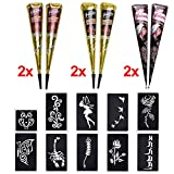 6x Henna Tattoo Temporäre Tattoo Natürliche + 10x Henna Tattoo Schablone,Temporäre Mehndi Tattoos, Natürliche Kegel, Tattoo sticker, Temporäre Tätowierung (Schwarz & Braun & Rotbraun)