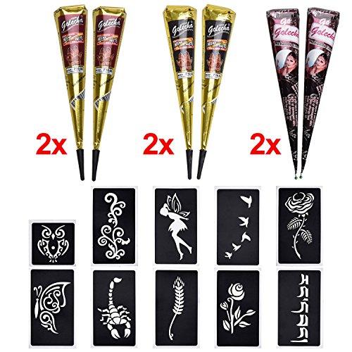 6x Henna Tattoo Temporäre Tattoo Natürliche +