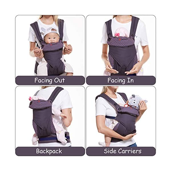"NEWSTYLE Baby Carrier Slings for Toddler,Safety Baby Front Back Carrier Infant Backpack Wrap,Premium Cotton Baby Carrier,Ergonomic All Position Baby Backpack for Newborn Infants Toddlers (Navy Blue)  ❤ Safe Material: Soft cotton 100%.Breathable fabric keeps baby skin dry.fast-drying,not fade,not sticky with wool. ❤ Ergonomic Design: Easy to adjust seat supports your baby in an ergonomic natural ""M"" position in all carry positions from baby to toddler.ensure baby's hips and legs are positioned correctly and comfortably. ❤Also Thoughtful Enough for You: Collapsible hood for wind and sun protection,Machine Washable, Lightweight, Foldable, Wide and thick backpack straps help relieve stress . Easy to put on or take off.all details are custom just for you. 4"