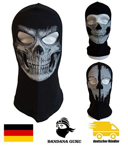 Bandana Guru Sturmhaube Geister Totenkopf Schädel Maske Balaclava Ghosts Skimaske Motorradmaske Windmaske Snowboardmaske für Outdoor Sport Paintball (Skull Smile)