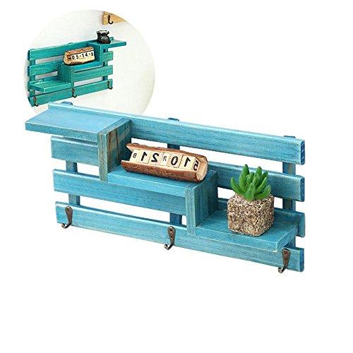 Gaeruite mensola sospesa da parete in legno massiccio decorativo appeso storage rack organizzatore unità con gancio in metallo, blue, as show