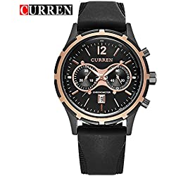 CURREN Business Men's Calendar Waterproof Black Dial Genuine Rubber Strap Wrist Watch 8066G