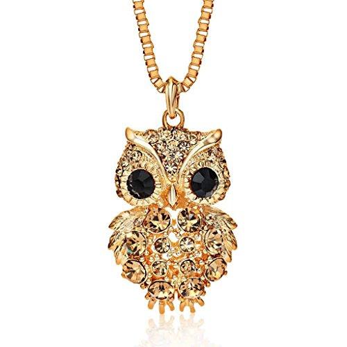 Epinki Damen Halskette, Edelsathl Damenkette Vogel Eule Form Statementkette Kettenanhänger Gold 80CM mit Zirkonia