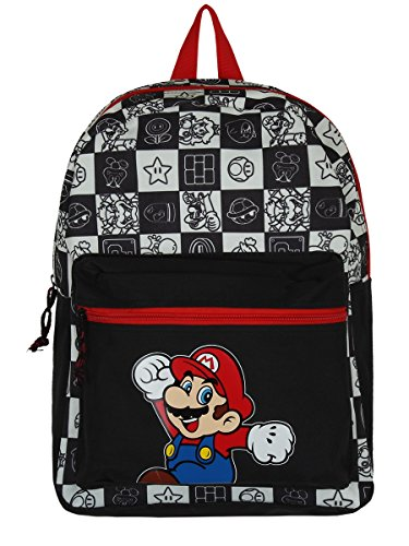Bioworld NINTENDO Super Mario Bros. Jumping with All-over Tiled Characters Backpack Zaino Casual, 42 cm, 15 liters, Nero (Black) Nero (Black)