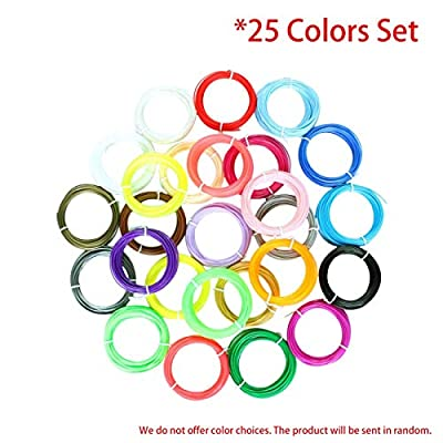 Elviray 25 Farben 3D-Druck Stift Filament Set 1,75 mm ABS-Filament Hochpräzise Verbrauchsmaterialien für 3D-Drucker