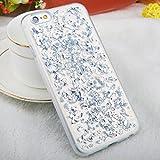 iPhone 6 / 6s TPU Glitzer Hülle   Glitter Schnipsel Folie Optik Design Schutzhülle   Crystal Case mit Glitzer Flocken Bling Bling Muster   Movoja   iPhone-6 silber