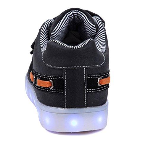 SAGUARO® Jungen Mädchen Turnschuhe USB Lade Flashing Schuhe Kinder LED leuchtende Schuhe mit farbigen Schnürsenkel Schwarz-4