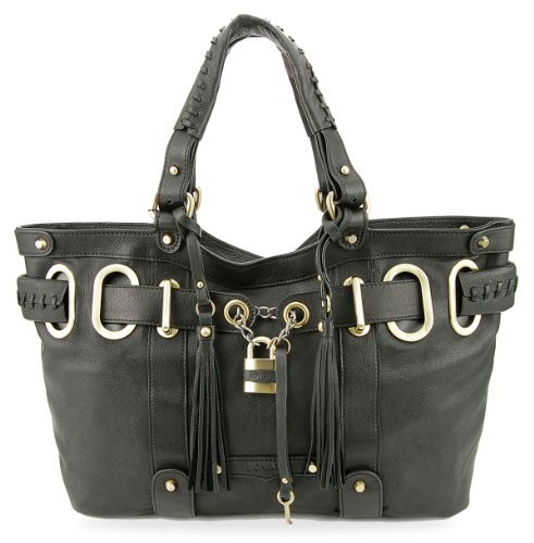 Bovari XL Padlock Shopper Bag Damen Handtasche - echt Leder- super Soft Limited Edition - schwarz/Black