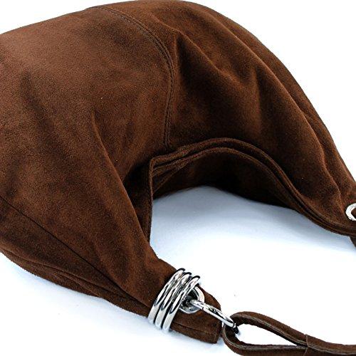 modamoda de - ital. Ledertasche Schultertasche Shopper Damentasche Wildleder Groß T02 Schokoladenbraun