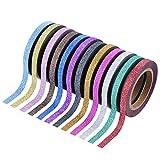Outus 24 Stück Washi Band Handwerk Band Glitter Tapes Art Tapes Masking Tape für Kunst Handwerk und DIY, 12 Farben