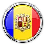 Andorra Flag Silver Pegatina de Vinilo Para la Decoracion del Vehiculo 12 X 12 cm