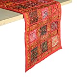 RAJRANG Style Rajasthani Patchwork Table Runner - Decorativo Bordado a Mano Colorido algodón Rojo Luxury Coffee Dining Table Placemat Decor 12 X 72 Pulgadas