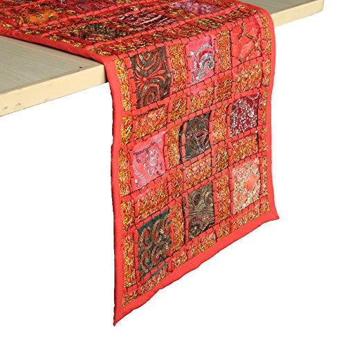 RAJRANG Stil Rajasthani Patchwork Tischläufer - dekorative Hand Bestickt rot Baumwolle Luxus Kaffee Esstisch Tischset Dekor 30 x 180 cm