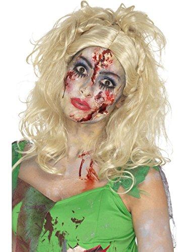 Smiffys Damen Perücke Zombie Elfe Fee blond lockig Halloween (Lockige Perücke Fee Kostüm)