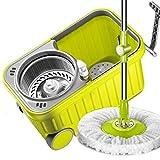 prodotti per la pulizia Secchio rotante a doppia azione Mop per asciugatura automatica Secchiello per avvolgitore assorbente per la disidratazione con ruote verdi (Colore : Green)