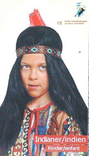 Junge Band Perücke (Körner Festartikel NEU Perücke Indianer-Junge für Kinder, mit Band)