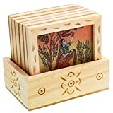 #7: Home Decor Handicrafts Designer Gemstone Painting Square Tea Coaster Set