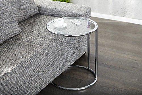 Designer Couchtisch Chrom in Silber Glastisch Tisch Beistelltisch REPRO Art Deko Höhe 55cm x 40cm Ø