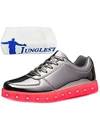 (Present:kleines Handtuch)Silber EU 43, Turnschuhe 7 Herren Schuhe (TM) Sneaker JUNGLEST® Leuchtend Farbe Aufladen LED Damen mode Sport Unisex