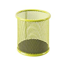 LSXLSD Pen Holder Round Metal Mesh Pen Insert Office Stationery Business Pen Class Storage Simple Grid (Color : Yellow)