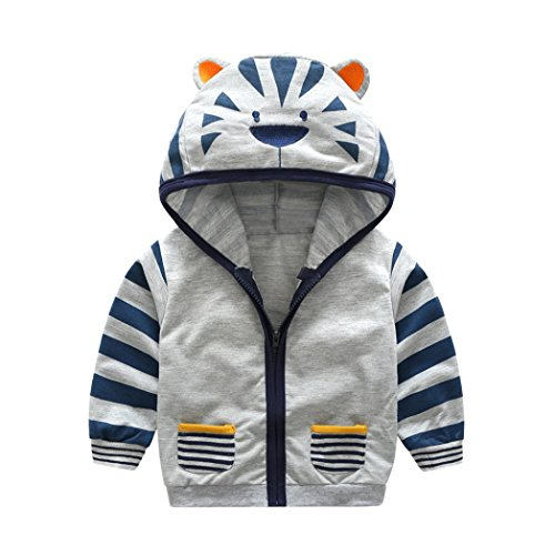 Longra Baby Kinder Jungen Mädchen Karikatur-Tier Sweatjacke Sweatshirts mit Kapuze Unisex Baby Jacke Kinderjacken Kapuzenpullover Mantel mit Reißverschluss (0-5Jahre) (90CM 12Monate, Gray)