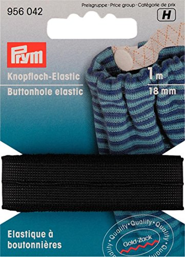 Prym Knopfloch-Elastic, gewebtes glattes Gummiband, 18 mm x 1 m, Schwarz (Waschbar Stoff Wolle)