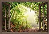 Artland Qualitätsbilder I Wandtattoo Wandsticker Wandaufkleber 100 x 70 cm Landschaften Wald Foto Grün B8CN Fensterblick Natürliche Torbögen durch Bäume