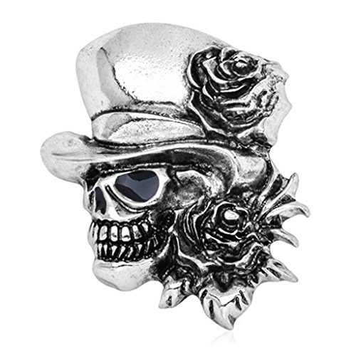 Lifet Goth Vintage Punk Halloween Party Schädel Skelett Rose Blume Brosche Geschenke (Silber)