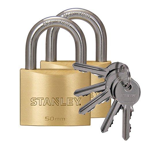 STANLEY Solid Brass Vorhangschloss 50 mm mit Standard-Bügel, 2er Pack, gleichschließend, 5 Schlüssel,S742-037, Schloss, Bügelschloss