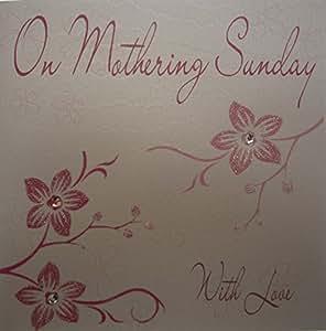 """White Cotton Cards - Biglietto di auguri per la festa della mamma, motivo: fiori rosa, scritta: """"On Mothering Sunday With Love"""", colore: bianco"""