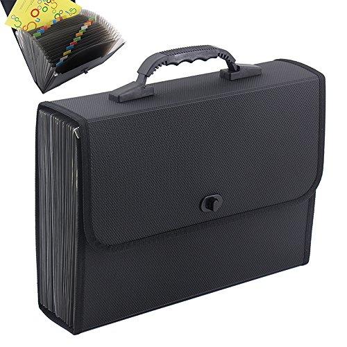 OffiConsent 26 Pockets Carpeta de Archivo Expansible Plastic A4 Organizador de Archivo Expandible Self Document Accordion Carpeta de Archivo Wallet Briefcase Archivador con Manija