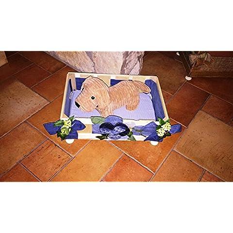 Caseta Cuna Madera Cama Casa Perro Gato Chihuahua Pets Princesa decorado a relieve colchón Cálido incluso tono sobre tono Jeans azul 45x 35